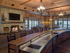 Long Bar With Wood Barstools in Rustic Great Room