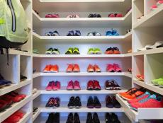 Colorful Sneaker Display in Custom Walk-In Closet