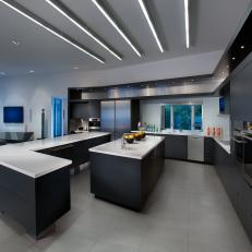 Open Plan, Modern Kitchen in Black, White and Gray Hues