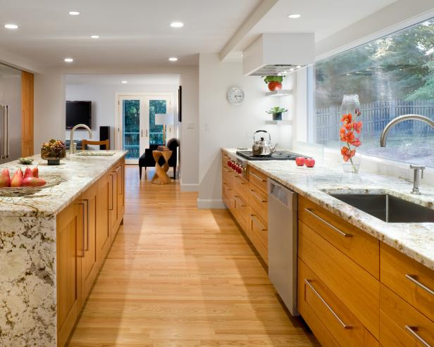 Kitchen with Marble Counters and Wood Floors
