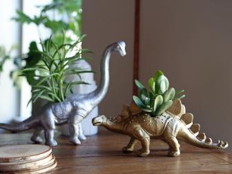 Metallic Dinosaur Planter
