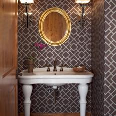 Powder Room With Brown Graphic Wallpaper