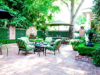 Traditional Brick Patio With Green Outdoor Cushions