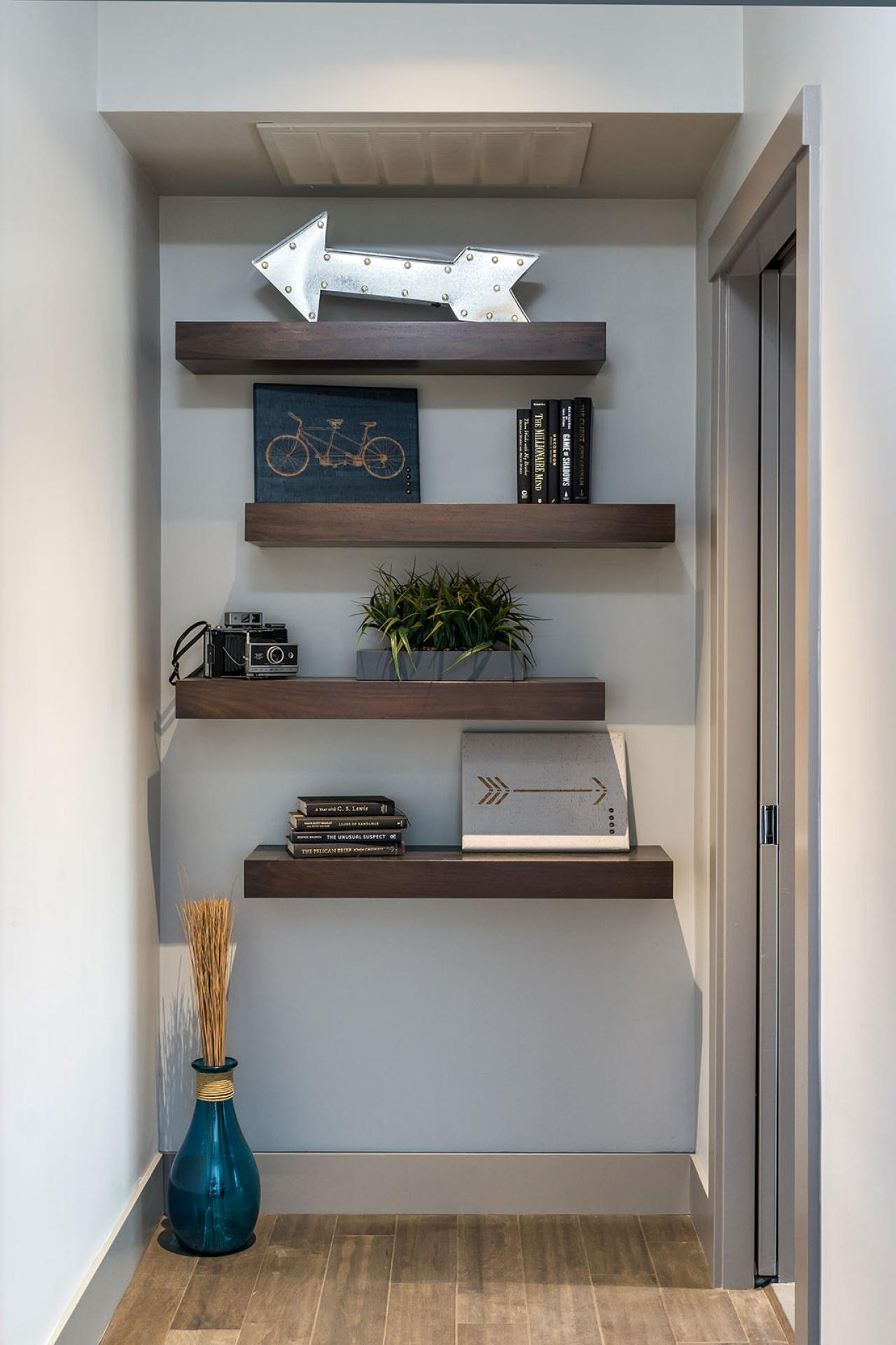 Decorative Floating Shelves In Contemporary Hallway