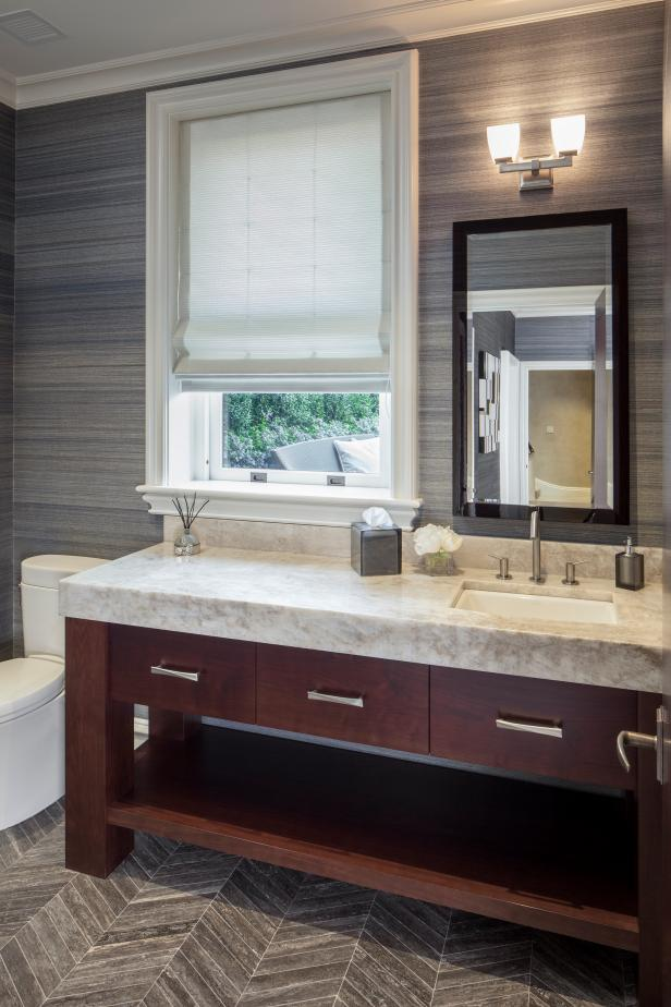 Contemporary Gray Bathroom With Herringbone Floor Tile Hgtv