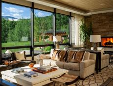 Neutral Rustic Living Room With Window Wall