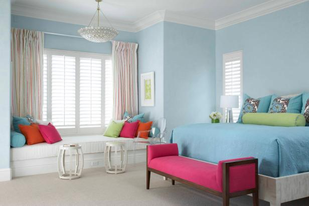 Eclectic Blue Bedroom With Window Seat