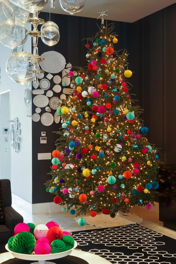 christmas tree trimmed with colorful pom poms - Christmas Trees With Colored Lights Decorating Ideas