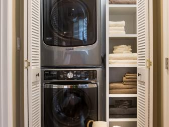 Transitional Laundry Closet is Functional, Stylish