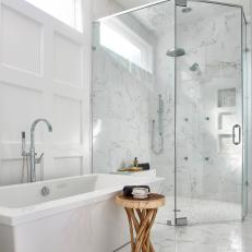 Contemporary Master Bath With White Marble and Glass Shower
