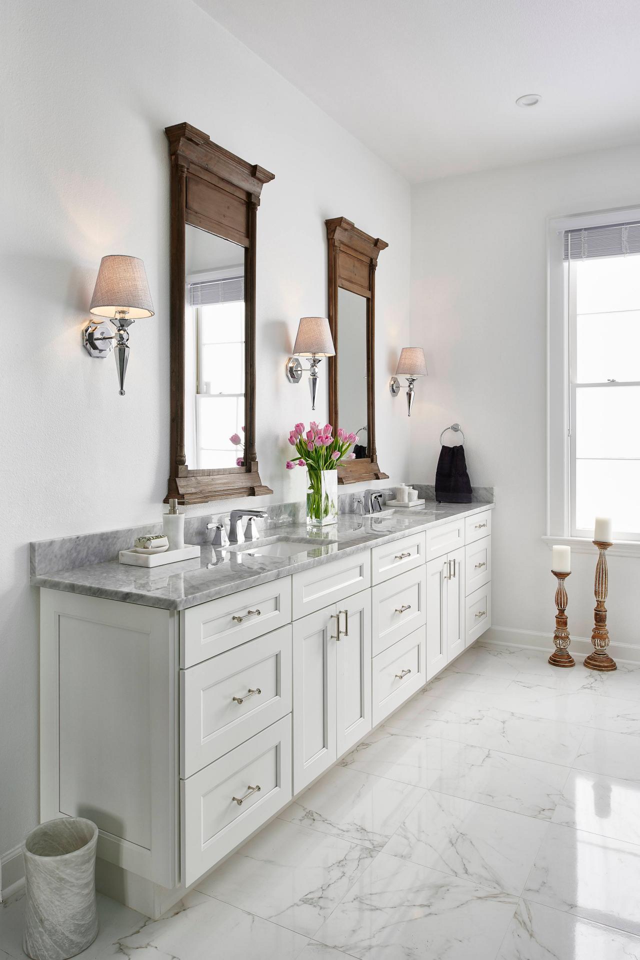 White Traditional Master Bath With Carrara Marble Countertop | HGTV