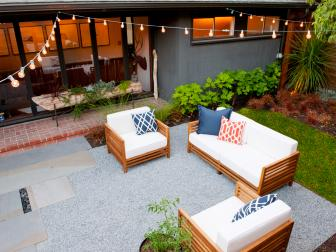 Modern Seattle Courtyard with Stone Pavers, Lighting and Seating