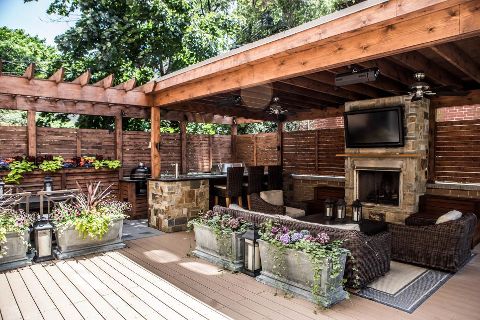 Outdoor Kitchen Structures : Deck features zones for entertainment cooking relaxing