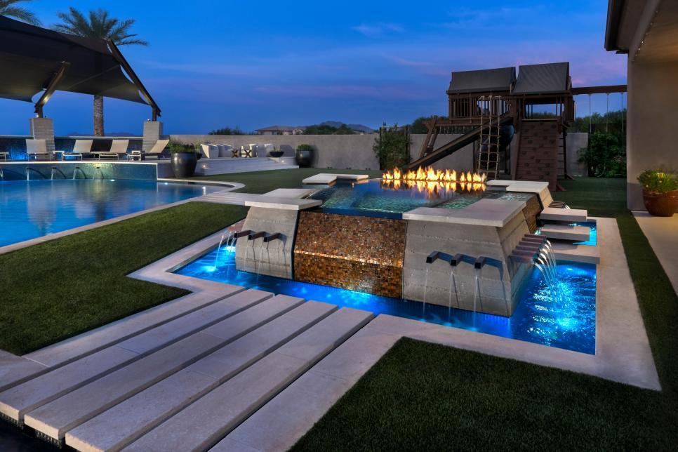 Modern Yard With Pool, Pergola, Water Feature, Steel ... on Modern Backyard Ideas With Pool id=63139
