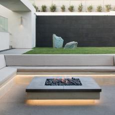 Clean, Modern Backyard with Fire Pit, Pool