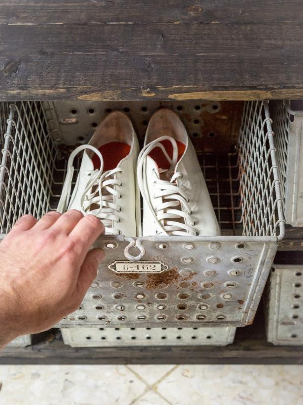 DIY Rustic-Industrial Shoe Storage Bench: Add Finishing Touches
