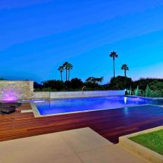 Modern Backyard with Lighted Pool