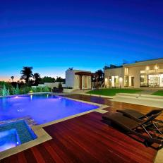 Modern Backyard with Pool, Pool House