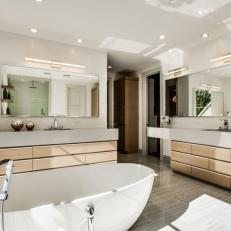 Neutral Modern Master Bathroom With Wood Drawers