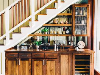 Wood Bar Under the Stairs