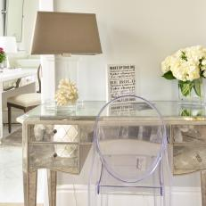 Bon Mirrored Writing Desk With Ghost Chair