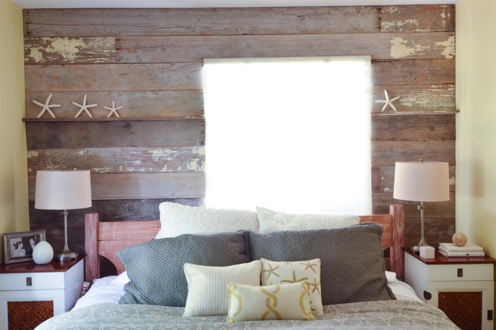 Wood Plank Accent Wall Behind the Bed