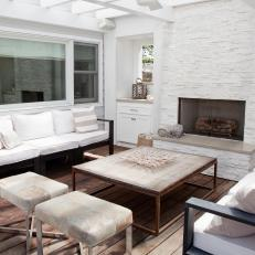 White Deck With Fireplace