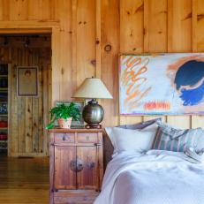 Board And Batten Walls In Rustic Cabin Bedroom