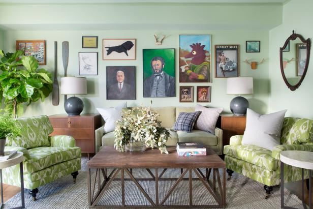 Green Eclectic Sitting Room With Gallery Wall