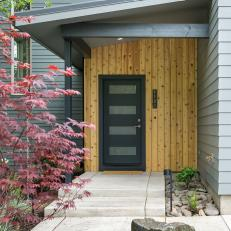 Hardwood Wall, Modern Black Door, Japanese Maple Create Curb Appeal