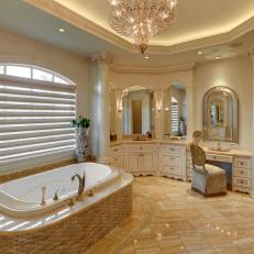 Elegant Bathroom With Chandelier