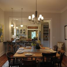 Open Plan Kitchen And Dining Room With Cottage Style