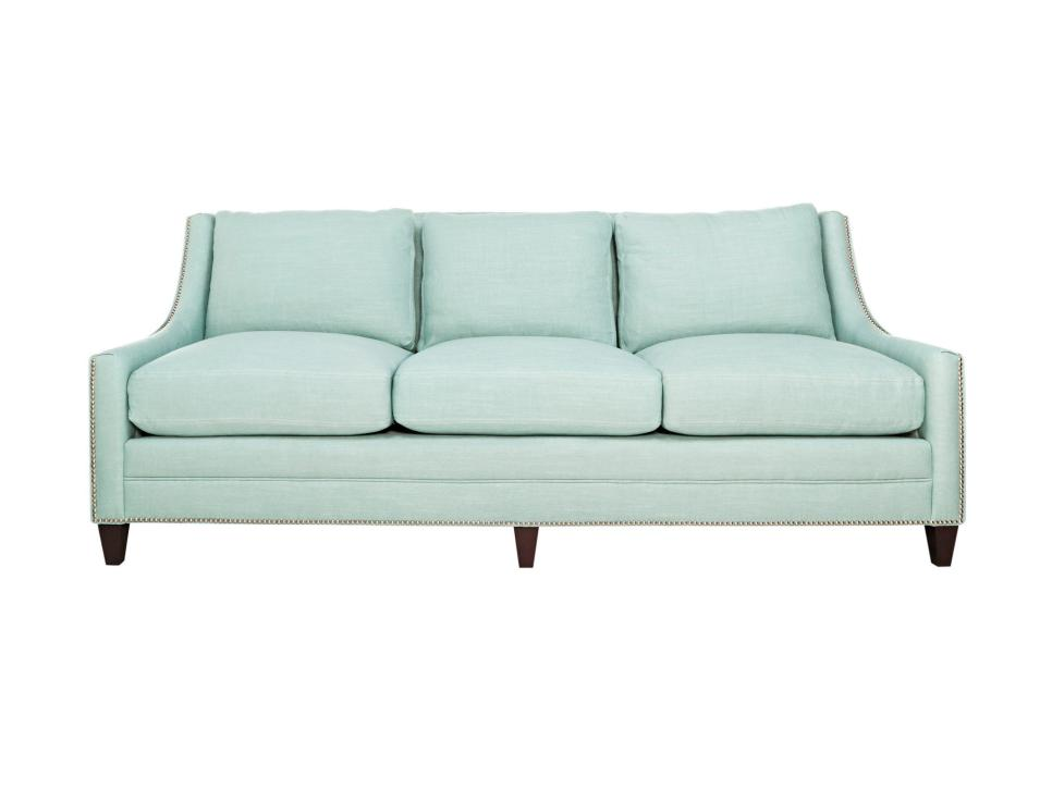 Blue Sofa With Nailhead Trim