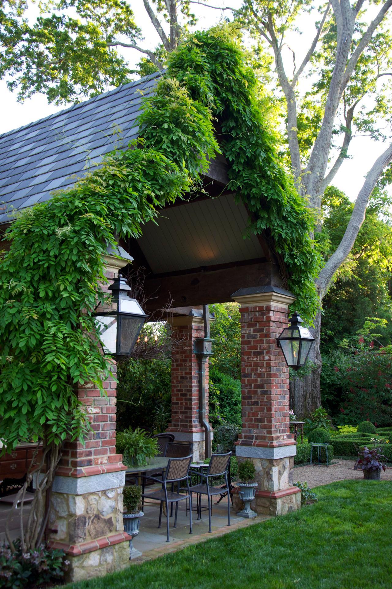 Wisteria Framed Garden Pavilion With Lantern Lights Mounted On