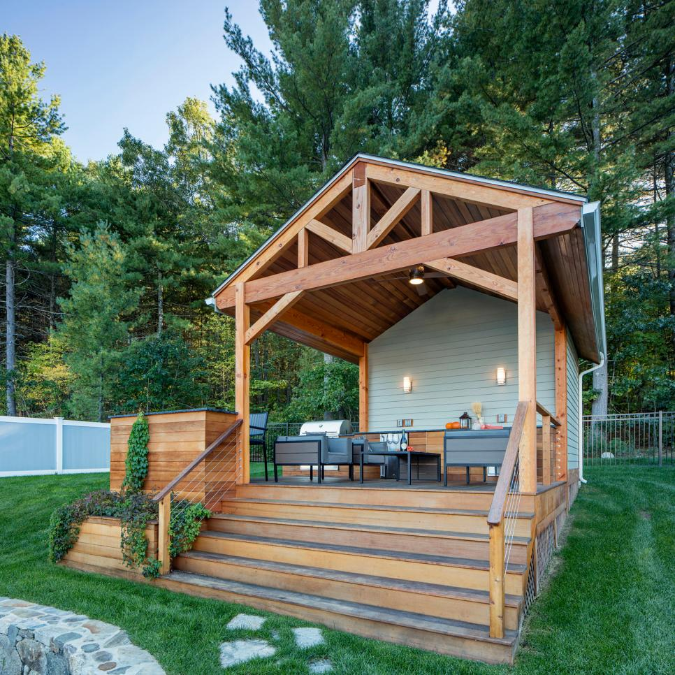 Looking For Outdoor Kitchen Inspiration: Attractive Poolhouse With Covered Cedar Deck, Outdoor