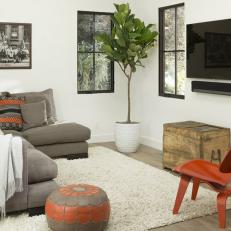 White, Modern Media Room with Eclectic Accents