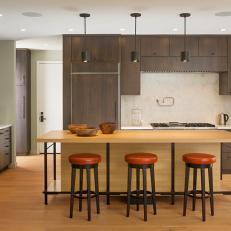 Modern Kitchen with Dark Cabinets, Mid-Century Stools