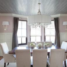 Transitional Pink and White Dining Room