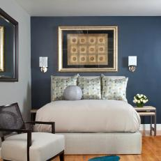 Transitional Guest Room with Blue Accent Wall, Glam Accents