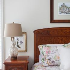 White Traditional Bedroom with Antique Headboard