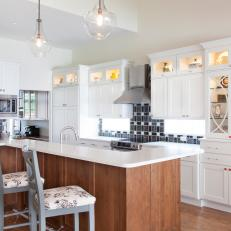White, Traditional Kitchen with Black and White Backsplash
