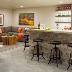 Family Game Room in the Basement With Bar