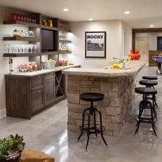 Transitional Bar With Stacked Stone Island and Open Shelving