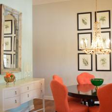 Chic Dining Room Features Coral Chairs, Stunning Gallery Wall U0026 Elegant  Chandelier