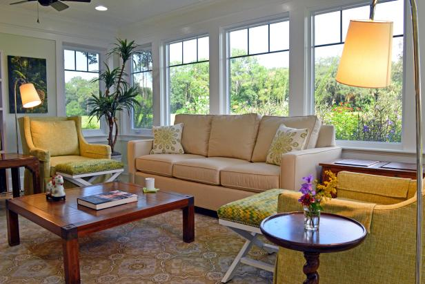 Traditional Sunroom With Yellow Chair, Patterns, Stool & Sofa