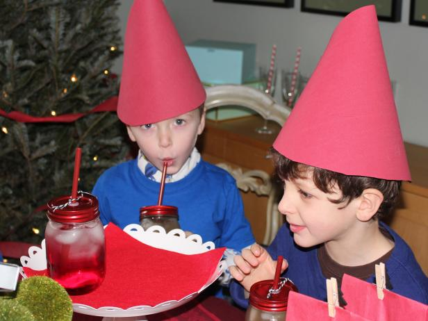 Children Wearing Red Gnome Hats