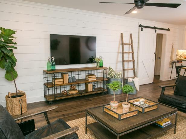 Living Room with Flat Screen TV, Ladder and Coffee and Console Table