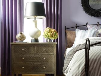 Metal Nightstand in Purple Transitional Bedroom