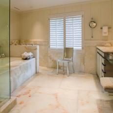 White Spa Bathroom With Marble Tub