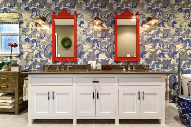 Asian Master Bathroom With Double Vanity